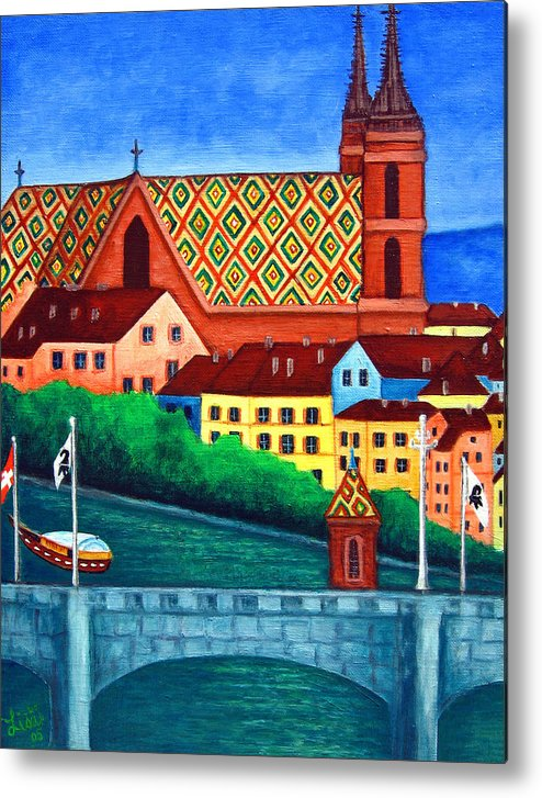 Basel Metal Print featuring the painting Remembering Basel by Lisa Lorenz