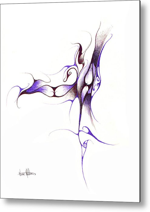Abstract Metal Print featuring the drawing Rhapsody Of Contortion by Nathaniel Hoffman