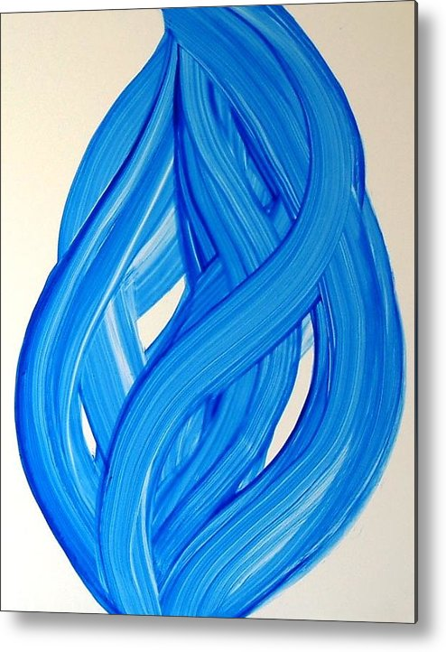 Abstract Modern Contemporary Yupo Art Painting Romantic Pop Blue Metal Print featuring the painting Ribbons of Love-Blue by Manjiri Kanvinde