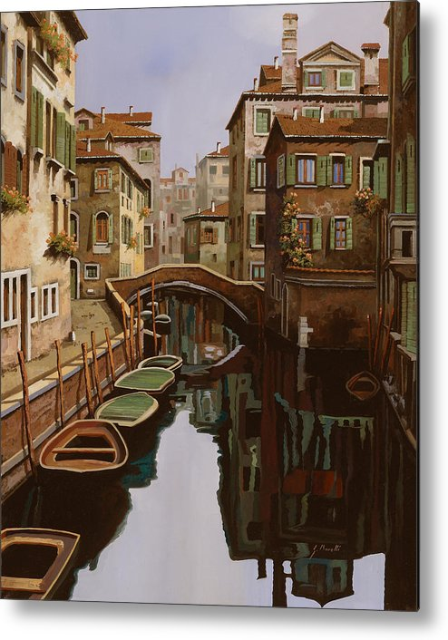Venice Metal Print featuring the painting Riflesso Scuro by Guido Borelli