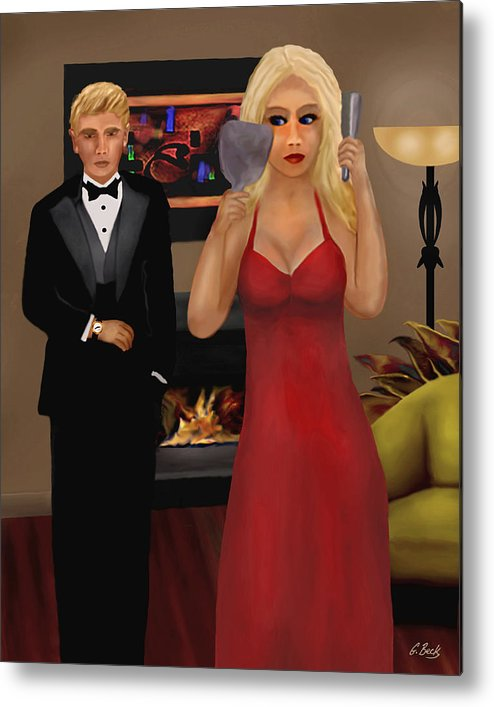 Contemporary Lifestyle Scene Blond Woman Formal Wear Apartment Fireplace G. Metal Print featuring the painting Running Late by Gordon Beck