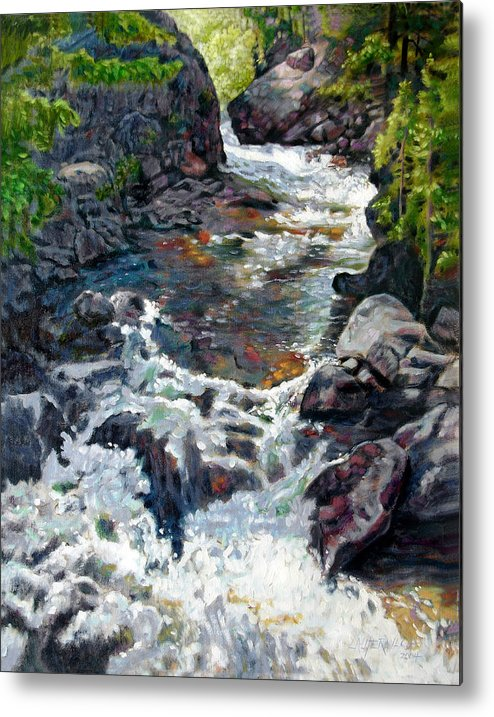 A Fast Moving Stream In Colorado Rocky Mountains Metal Print featuring the painting Rushing Waters by John Lautermilch