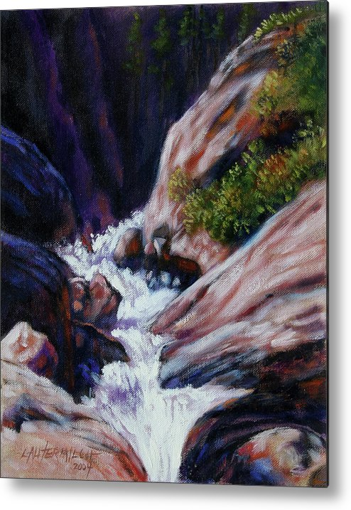 Mountain Stream Metal Print featuring the painting Rushing Waters two by John Lautermilch