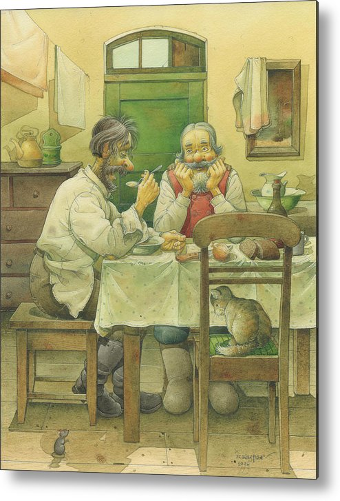 Russian Winter Metal Print featuring the painting Russian Scene 08 by Kestutis Kasparavicius