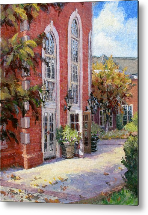 Architecture Of Church Front Metal Print featuring the painting Safe Harbor by L Diane Johnson