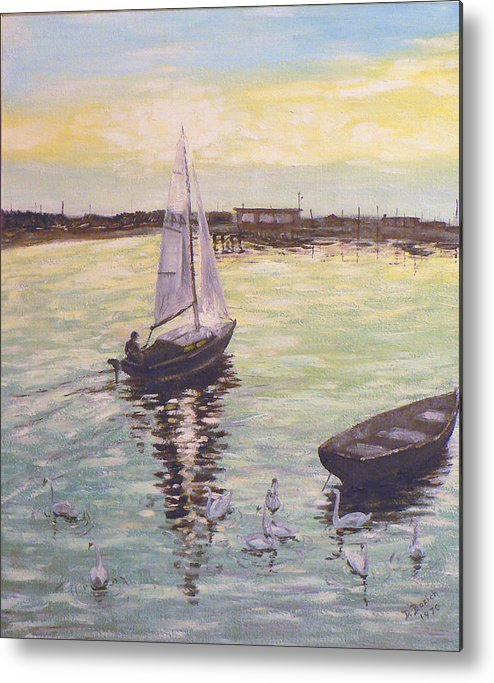 Sailboat Metal Print featuring the painting Saling Home At Sunset by Dan Bozich