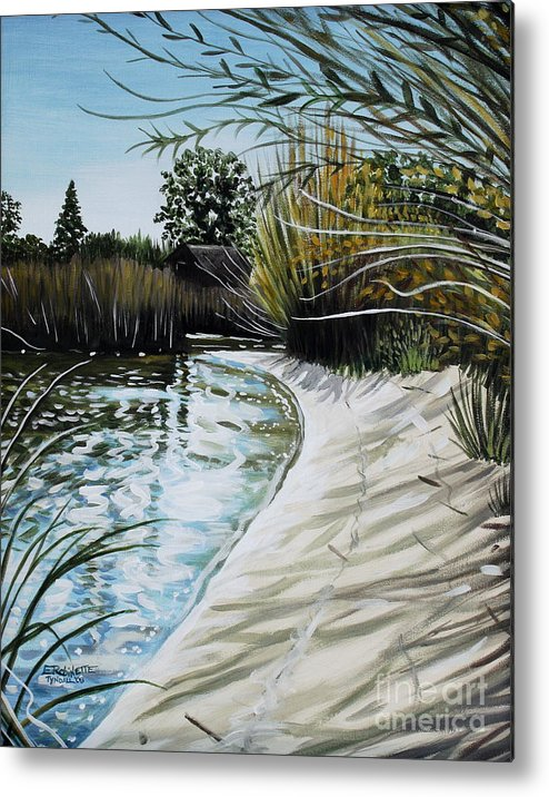 Landscape Metal Print featuring the painting Sandy Reeds by Elizabeth Robinette Tyndall