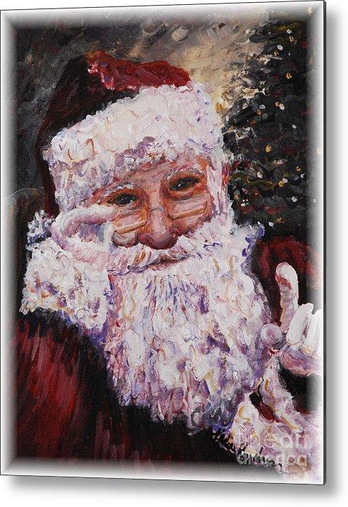 Santa Metal Print featuring the painting Santa Chat by Nadine Rippelmeyer