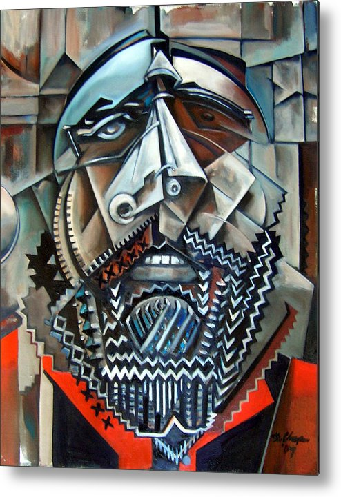 Sean Paint Poole Cubism Portrait Metal Print featuring the painting Sean Poole by Martel Chapman