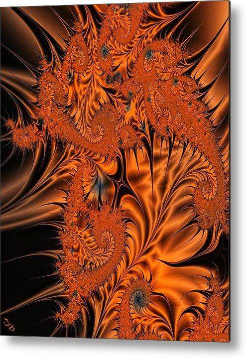 Silk Metal Print featuring the digital art Silk in Orange by Ron Bissett