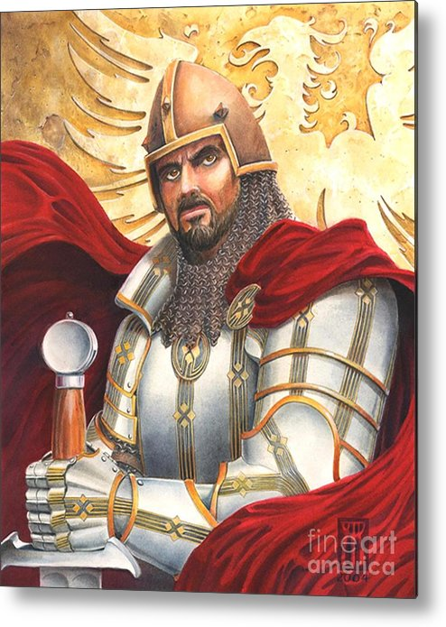 Swords Metal Print featuring the drawing Sir Gawain by Melissa A Benson