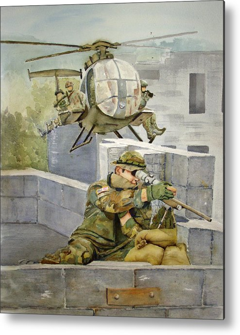 Soldier Metal Print featuring the painting Sniper Military Tribute by Kerra Lindsey
