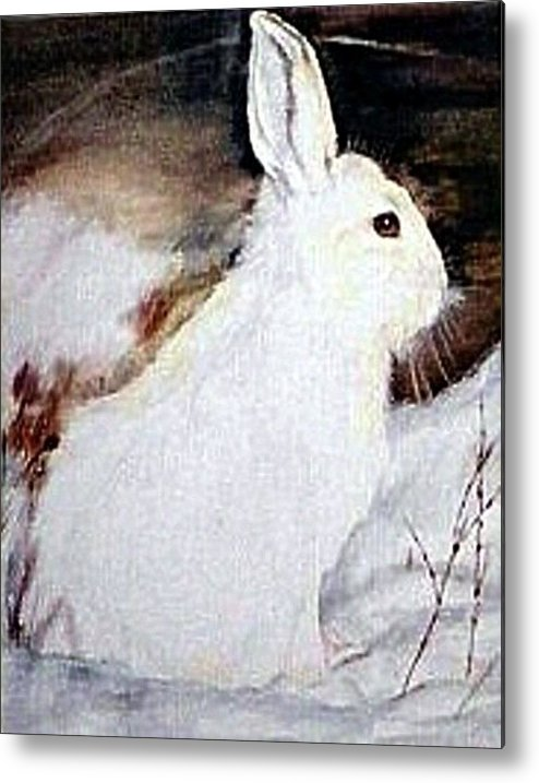 Snowshoe Hare Metal Print featuring the painting Snow Bunny by Debra Sandstrom