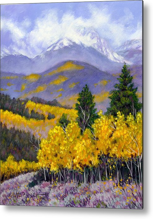 Rocky Mountains Metal Print featuring the painting Snowing in the Mountains by John Lautermilch