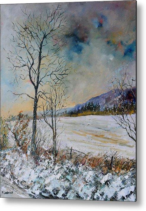 Landscape Metal Print featuring the painting Snowy landscape by Pol Ledent