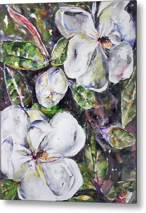 Magnolia Metal Print featuring the painting SOLD Steal Magnolias by Amanda Sanford