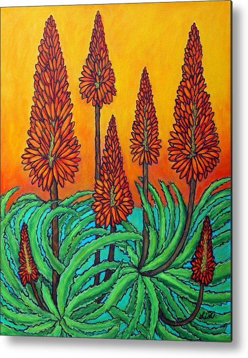 Aloe Metal Print featuring the painting South African Fireball by Lisa Lorenz