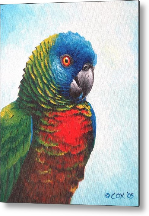 Chris Cox Metal Print featuring the painting St. Lucia Parrot by Christopher Cox