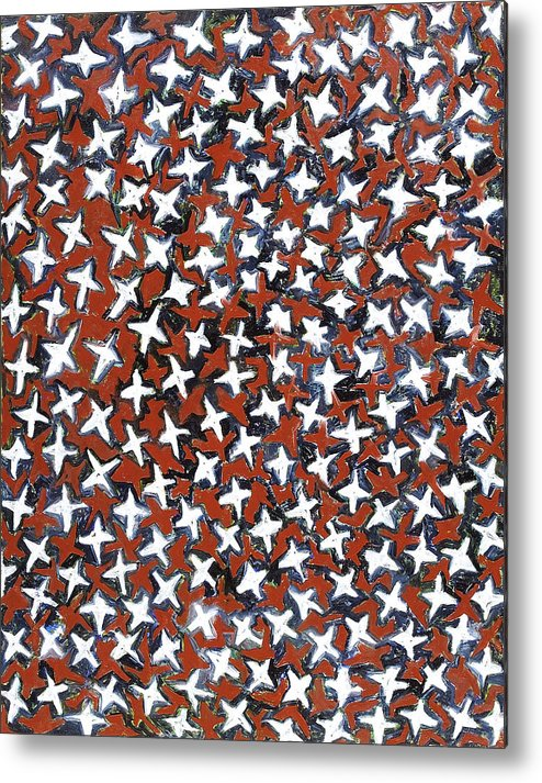 Abstract Stars White Red Pattern Metal Print featuring the painting Stars by Joan De Bot