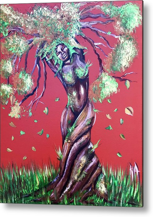 Tree Metal Print featuring the painting Stay Rooted- Stay Grounded by Artist RiA