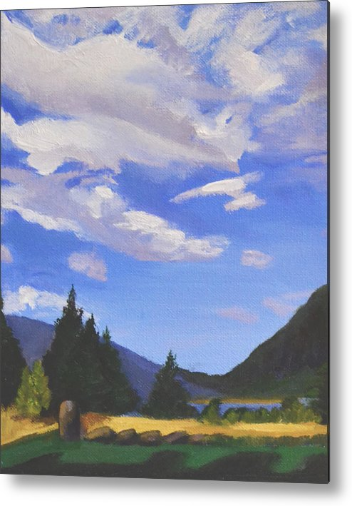 Clouds Metal Print featuring the painting Sunlit Clouds by Mary Chant