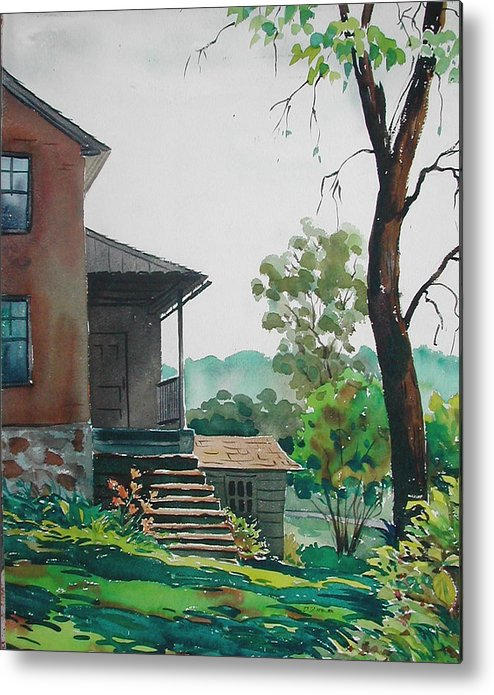 Metal Print featuring the painting Sunlit Steps by Faye Ziegler