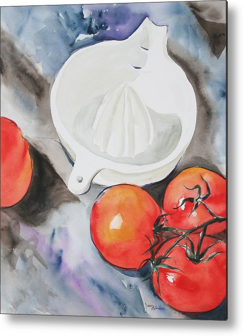 Tomatoes Metal Print featuring the painting Sunshine On The Vine by Jean Blackmer