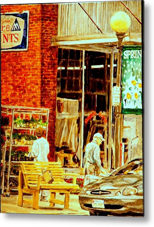 Small Town Metal Print featuring the painting The Bed Planters by Thomas Akers