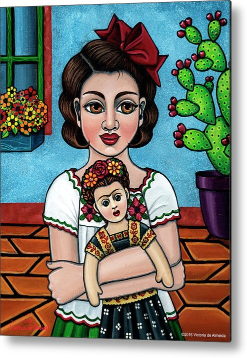Hispanic Art Metal Print featuring the painting The Blue House by Victoria Jones
