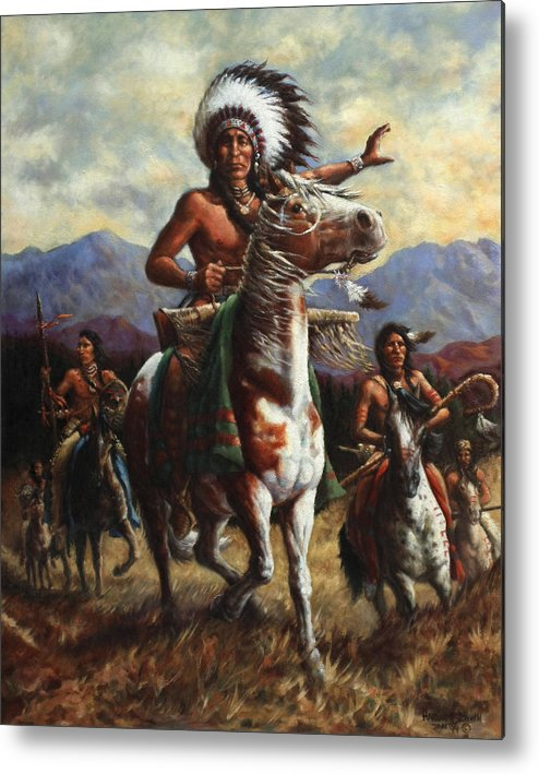Native American Metal Print featuring the painting The Chief by Harvie Brown