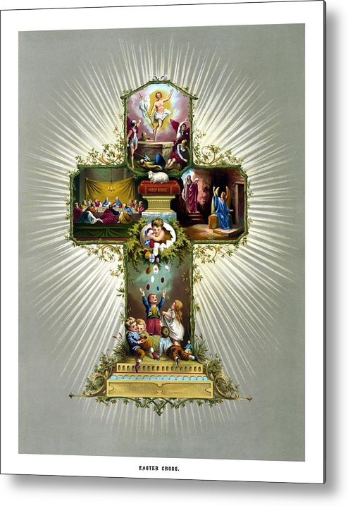 Jesus Metal Print featuring the painting The Easter Cross by War Is Hell Store
