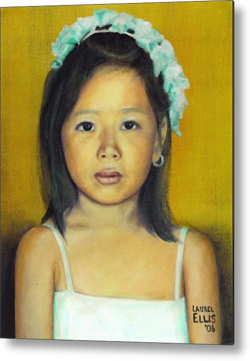 Portrait Metal Print featuring the painting The Flower Girl by Laurel Ellis
