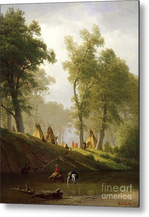 The Metal Print featuring the painting The Wolf River - Kansas by Albert Bierstadt