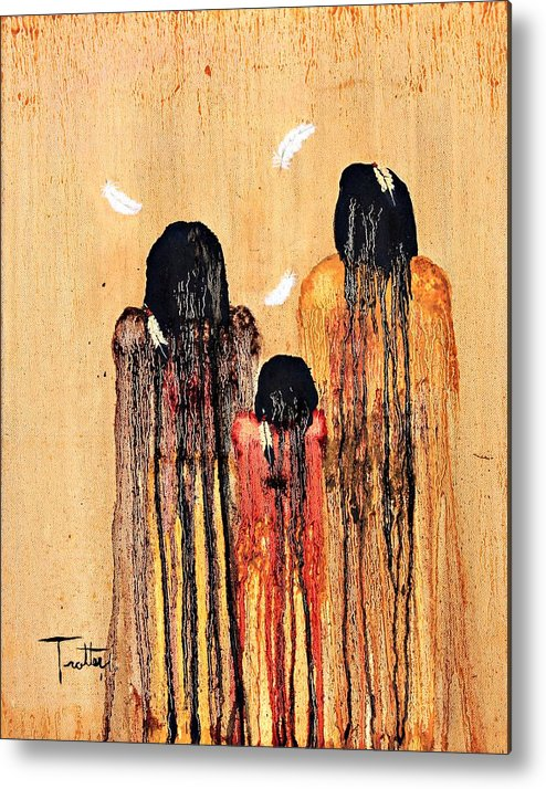 Art Metal Print featuring the painting Three Feathers by Patrick Trotter