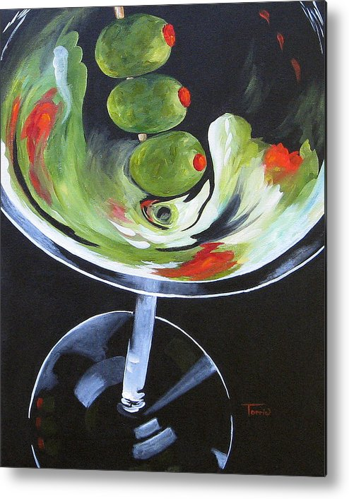 Bar Art Metal Print featuring the painting Three Olive Martini IV by Torrie Smiley