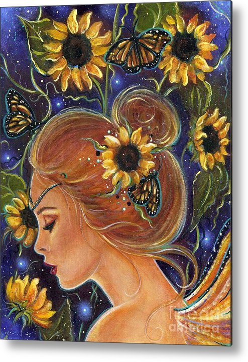 Sunflower Art Metal Print featuring the painting Time to be free by Renee Lavoie
