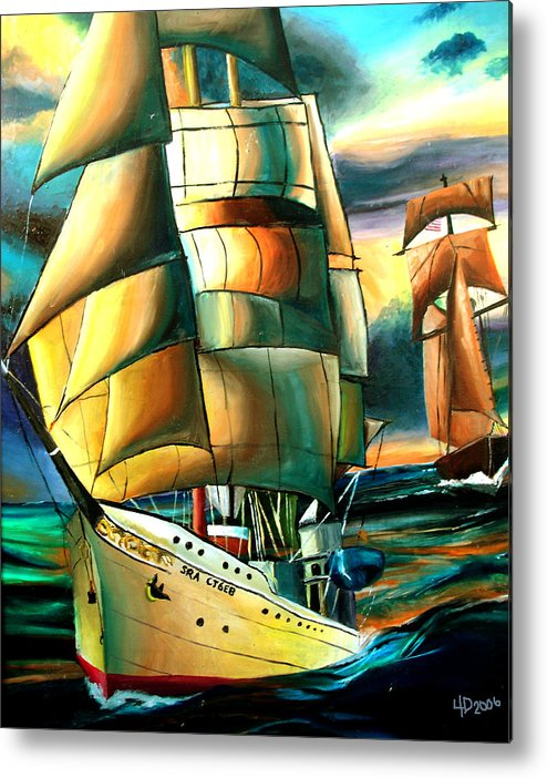 Ship Metal Print featuring the drawing Timeless by Darcie Duranceau