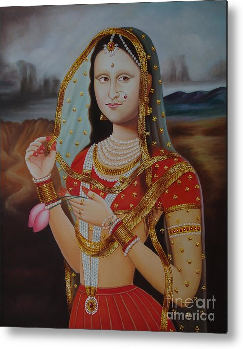 Traditional Art Monalisa Oil Painting On Canvas Art N India Art Gallery Metal Print By A Mahesh