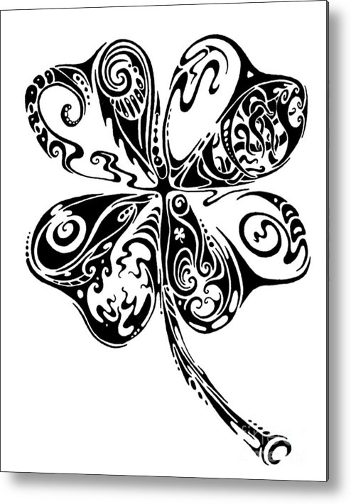 Shamrock Metal Print featuring the drawing Tribal Shamrock by John Benko