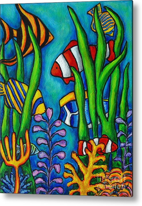Tropical Metal Print featuring the painting Tropical Gems by Lisa Lorenz