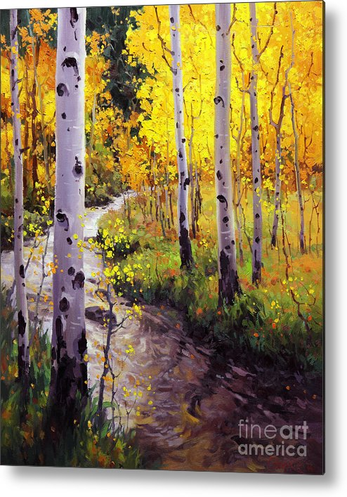Twilight Glow Over Aspen Mountains Landscape Scenic Nature Fall Sky Aspen Trees Fall Foliage Metal Print featuring the painting Twilight Glow Over Aspen by Gary Kim