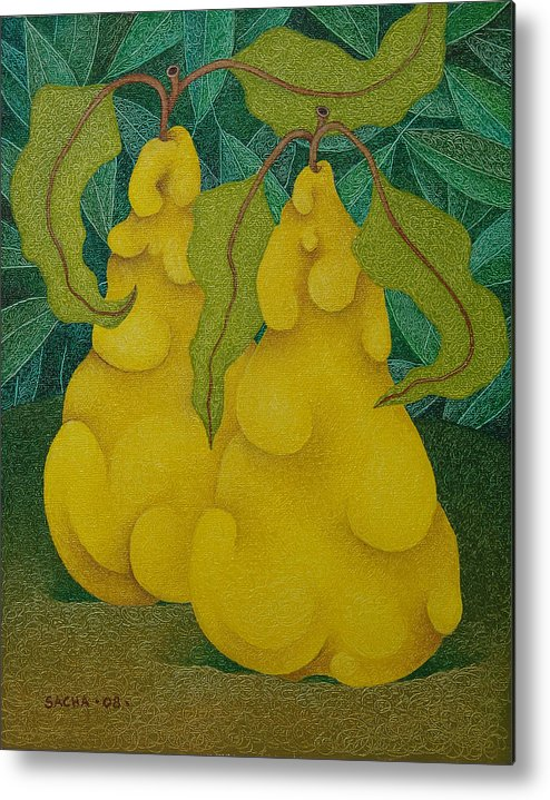 Sacha Circulism Circulismo Metal Print featuring the painting Two Quinces 2008 by S A C H A - Circulism Technique