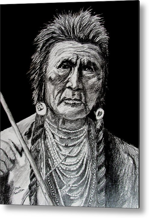 Original Portrait Metal Print featuring the drawing Unknown Indian by Stan Hamilton