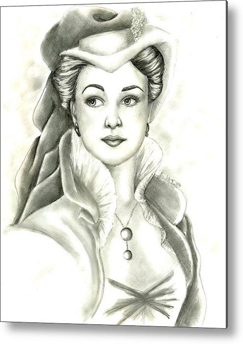 Vivien Lee Metal Print featuring the drawing Vivien by Scarlett Royal