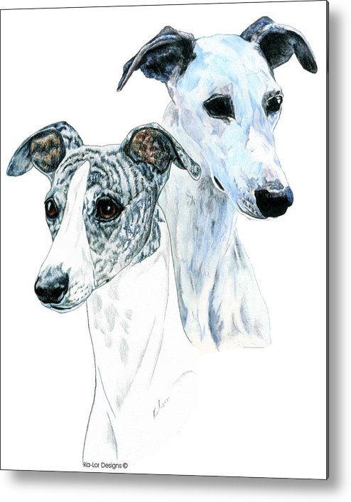 Whippet Metal Print featuring the painting Whippet Pair by Kathleen Sepulveda