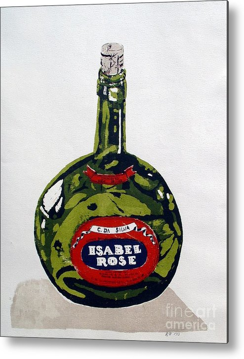 Silk Screen Metal Print featuring the mixed media Wine Bottle by Ron Bissett