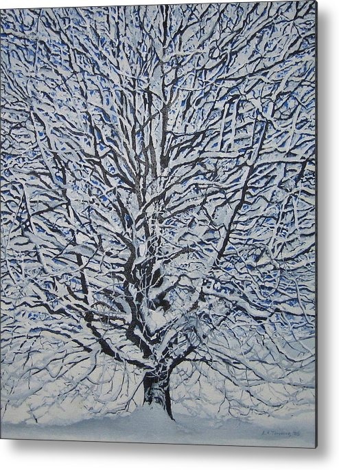Winter Metal Print featuring the painting Winter '05 by Leah Tomaino