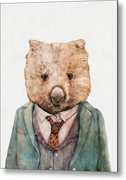 Wombat Metal Print featuring the painting Wombat by Animal Crew