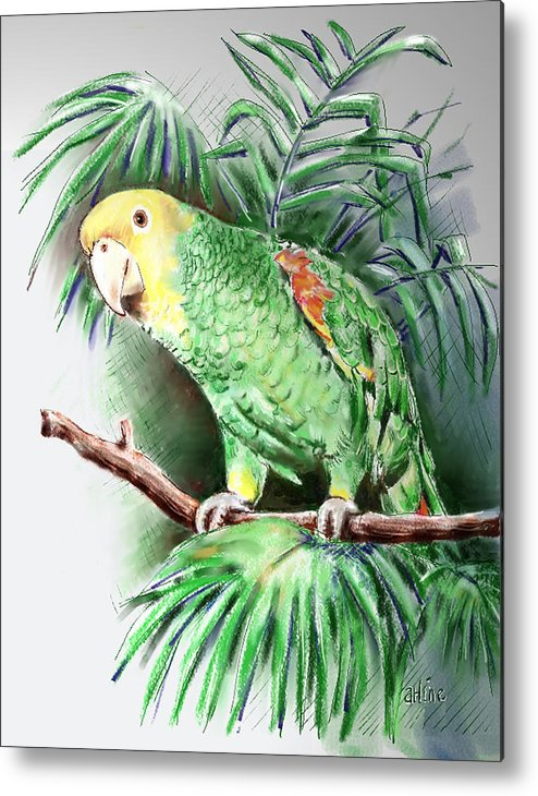 Bird Metal Print featuring the digital art Yellow-headed Amazon Parrot by Suzanne Blender