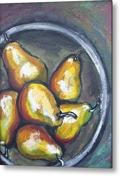 Pears Metal Print featuring the painting Yellow Pears by Sarah Crumpler